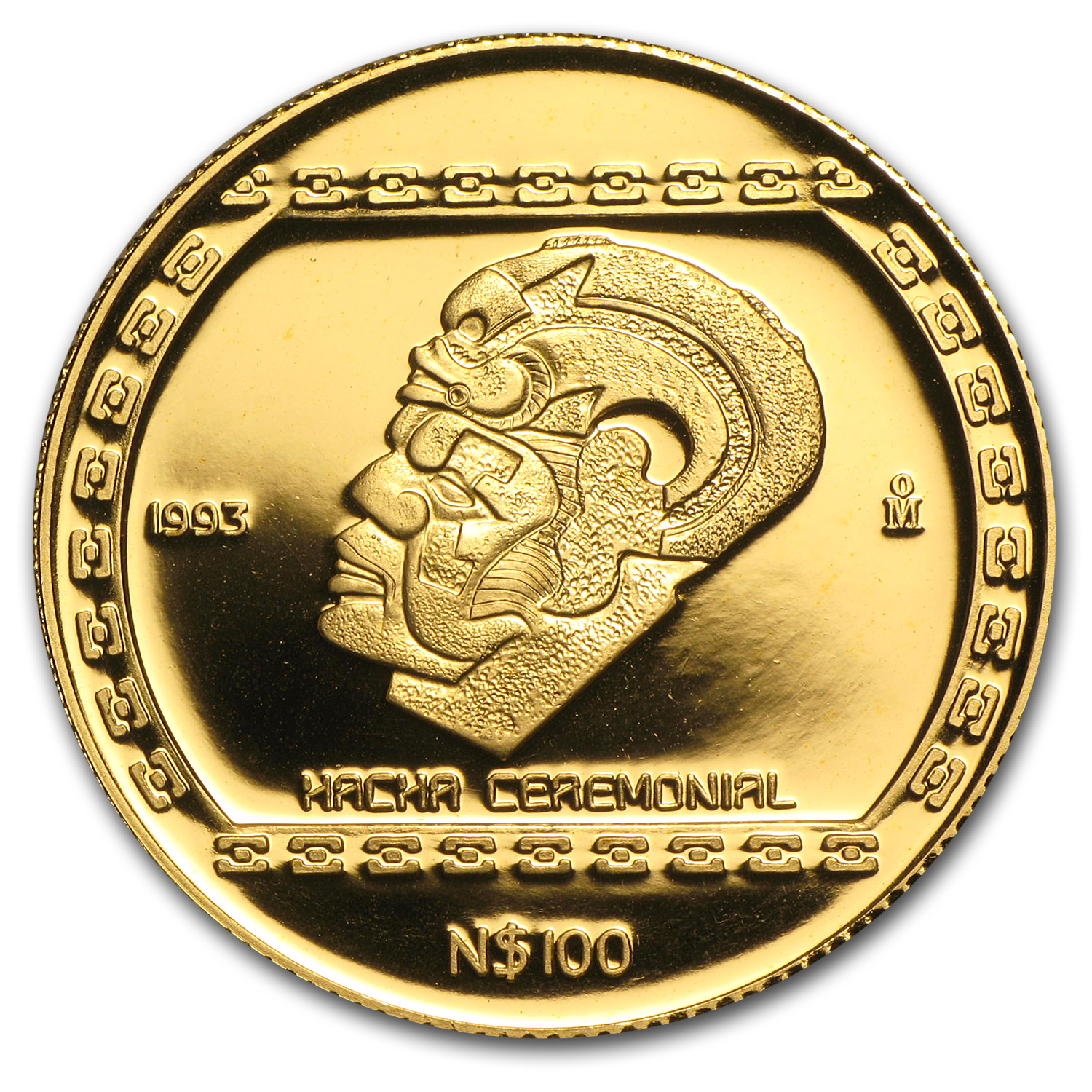 1993 Mexico 100 Pesos Gold Hacha Ceremonial Proof